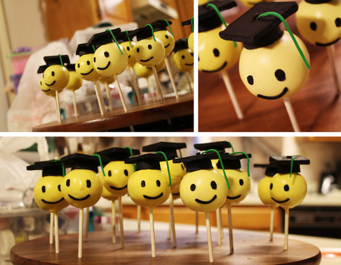More Graduation Cake Pops – Heads with Reeses Hats & Godiva Caps [Recipe]