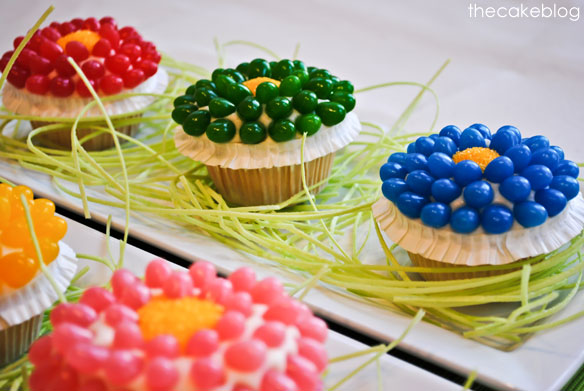 Jelly Bean Flower - Easter Cupcakes from Half Baked, thecakeblog.com