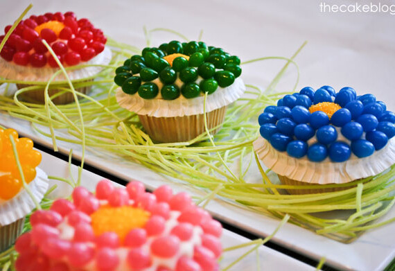 Easter Jelly Bean Spring Flower Cupcakes